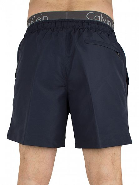 Calvin Klein Navy Waistband Medium Drawstring Logo Swimshorts