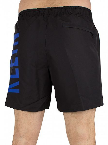 Calvin Klein Black/Royal Blue Vertical Logo Medium Drawstring Swimshorts