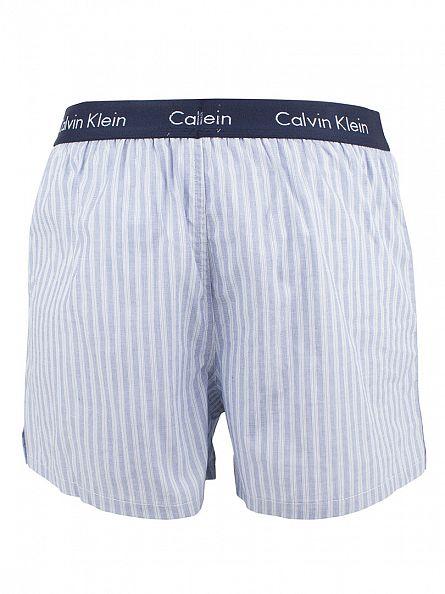 Calvin Klein Stripe Blue Shadow Striped Slim Fit Woven Trunks