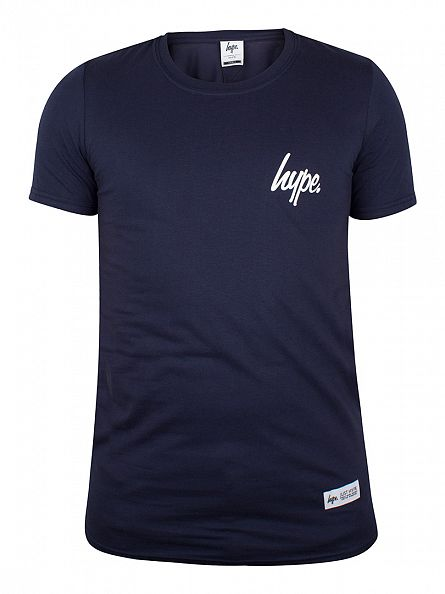 Hype Navy/White Breast Mini Script T-Shirt