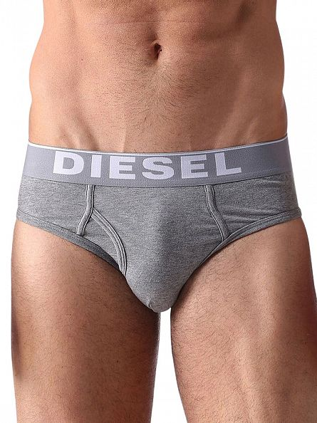 Diesel White/Grey/Black 3 Pack Cotton Stretch Essential Briefs
