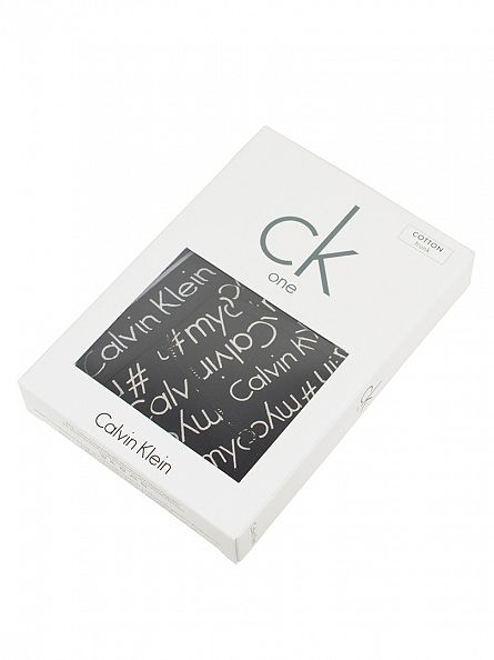 Calvin Klein Black/White CK One All Over Logo Print Trunks