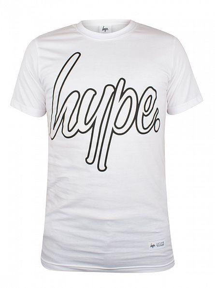 Hype White Outline Script Logo T-Shirt