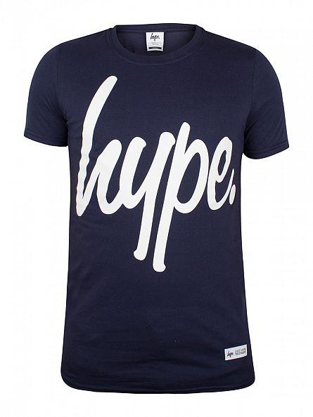 Hype Navy/White Script Logo T-Shirt