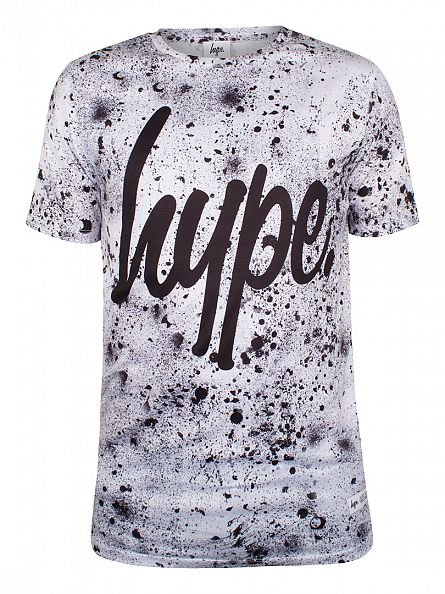 Hype White/Black Script Speckle All Over T-Shirt