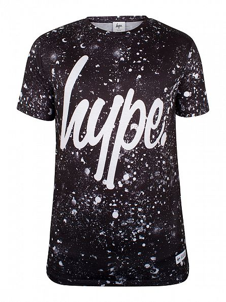 Hype Black/White Script Speckle All Over T-Shirt