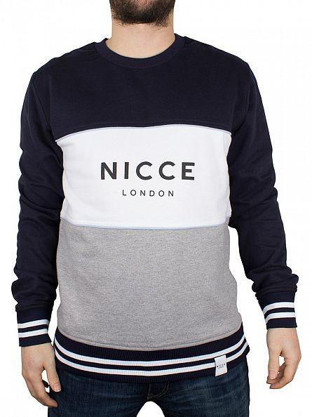 Nicce London Blue/White/Grey 3 Panel Villa Logo Sweatshirt