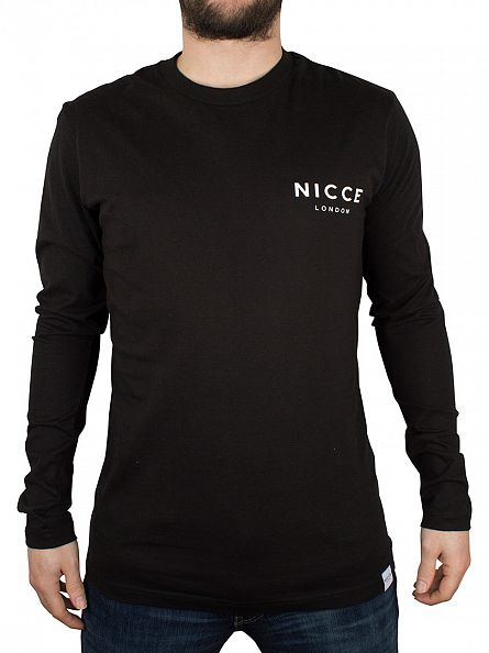 Nicce London Black Logo Badge Longsleeved T-Shirt
