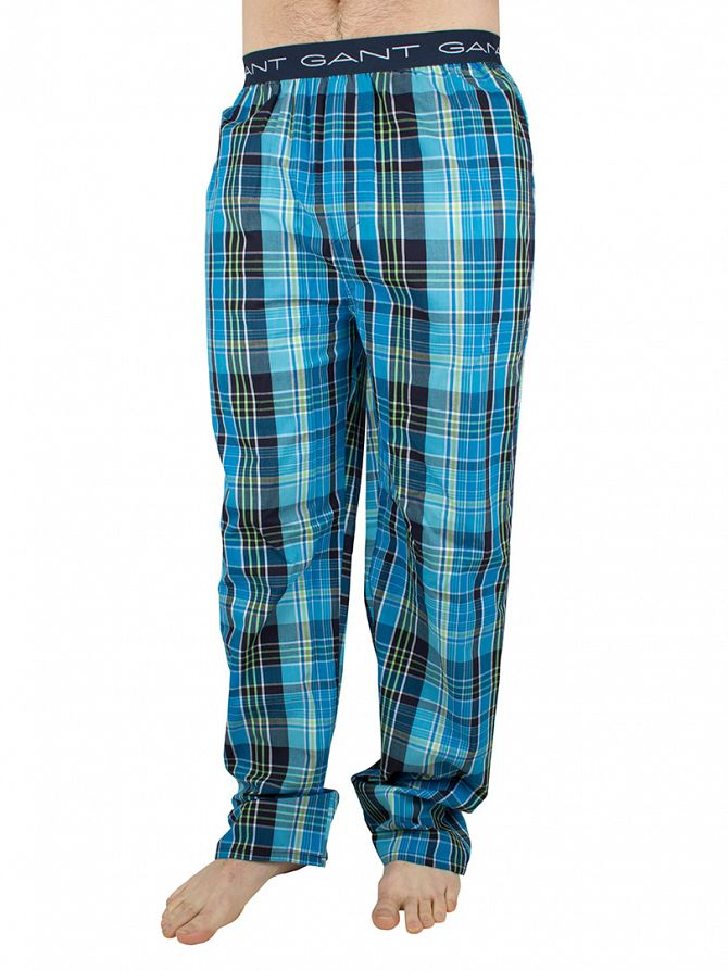 Gant Dark Aquarius Blue Logo Waistband Checked Pyjama Bottoms