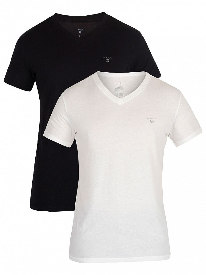 Gant White/Black 2 Pack Logo V-Neck T-Shirt