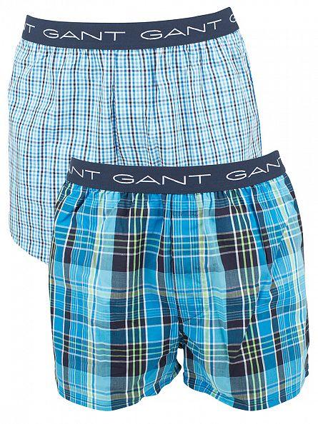 Gant Aquarius Blue 2 Pack Woven Checked Boxer Shorts