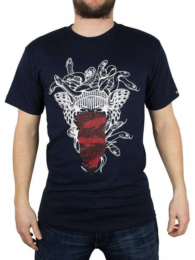 Crooks & Castles Navy Medusa Speckle Tiger Snakes T-Shirt