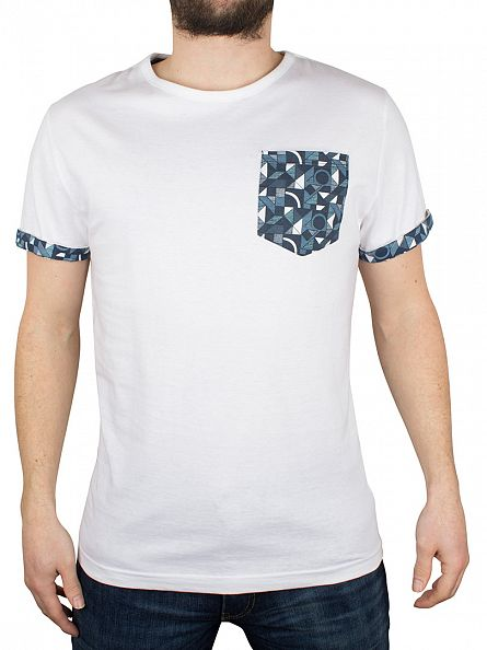 Bellfield White Printed Pocket Turn Back T-Shirt