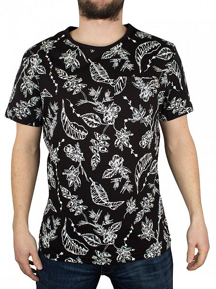 Bellfield Black All Over Printed Botanical Floral T-Shirt