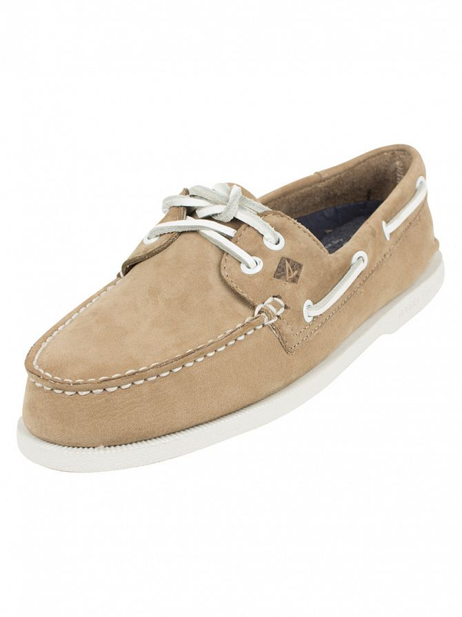 Sperry Top-Sider Washable Taupe A/0 2-Eye Slip-On Boat Shoes