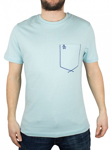 Original Penguin Crystal Blue Flatlock Pocket Logo T-Shirt