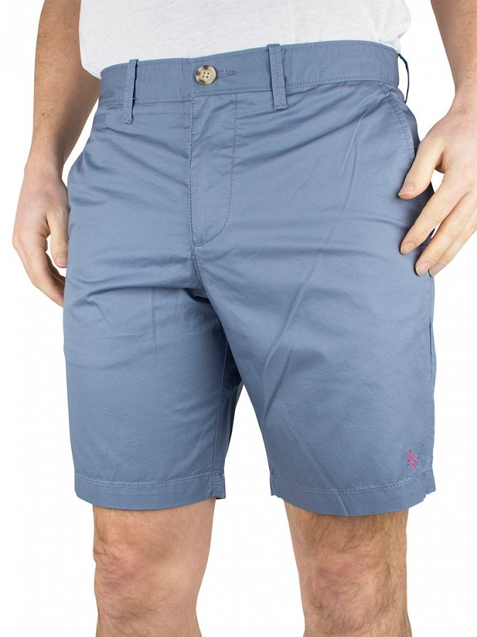 Original Penguin Flint Stone Blue Basic P55 Logo Slim Fit Chino Shorts