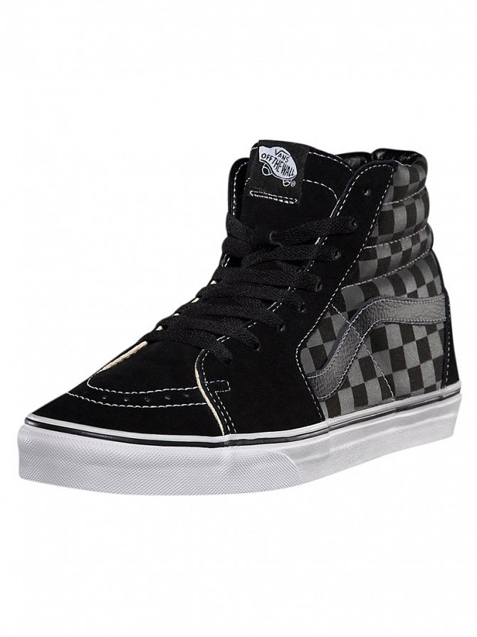 Vans Black/Pewter Sk8-Hi Checkerboard Trainers