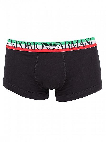 Emporio Armani Black Triple Logo Waistband Trunks