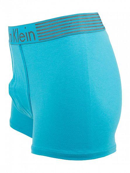 Calvin Klein Caneel Bay Blue Iron Strength Logo Waistband Trunks
