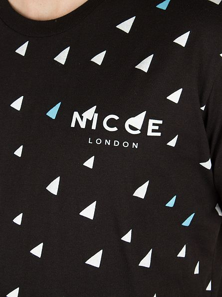 Nicce London Black All Over Triangle OAP T-Shirt