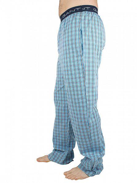 Gant Light Aquarius Blue Logo Waistband Checked Pyjama Bottoms