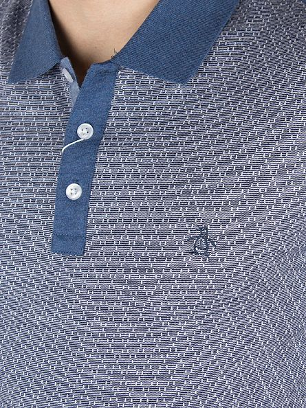 Original Penguin Dark Denim Diamond Jacquard Front Logo Polo Shirt