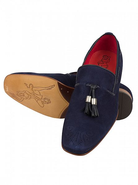 Jeffery West Cabra Dark Blue Ante Navy Slip-Ons