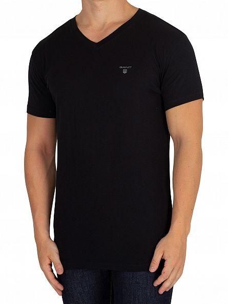 Gant White/Black 2 Pack Logo V-Neck T-Shirt