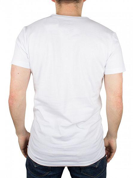 Gant White 1949 Chest Logo V-Neck T-Shirt