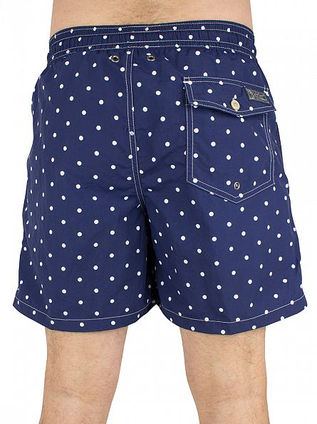 Polo Ralph Lauren Holiday Navy Polka Dot Logo Traveller Swim Shorts