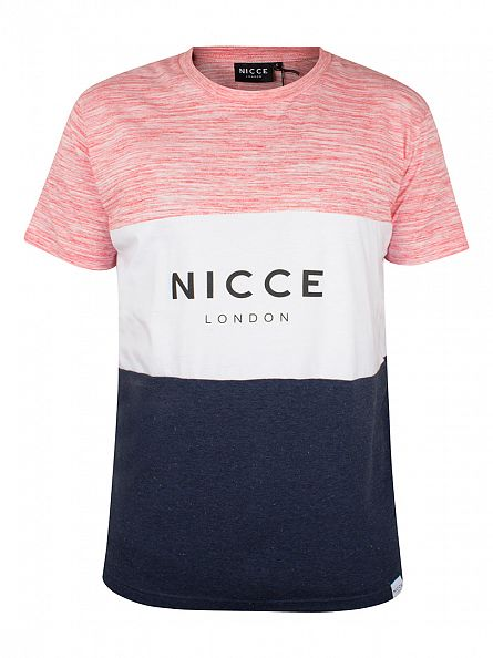 Nicce London Pink/White/Blue Flecked Mixed Triple Panel Logo T-Shirt