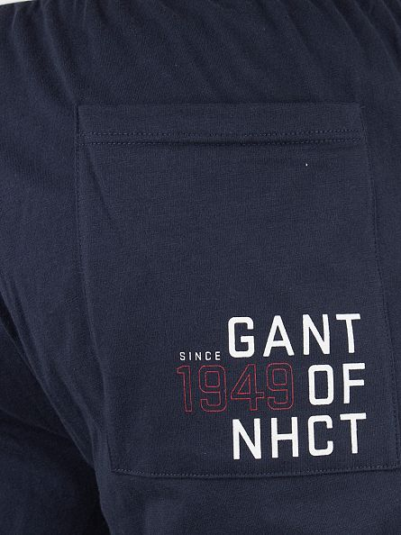 Gant Navy Logo Waistband Pyjama Shorts