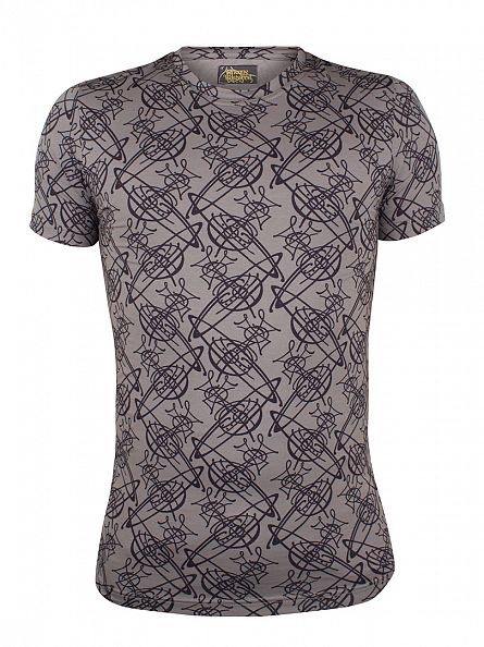 Vivienne Westwood Grey All Over Logo Print T-Shirt