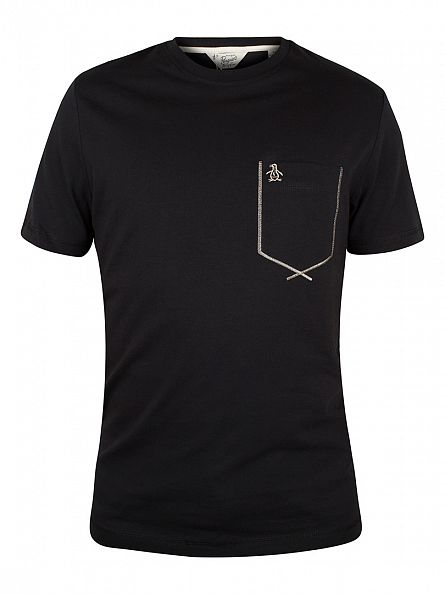 Original Penguin True Black Flatlock Pocket Logo T-Shirt