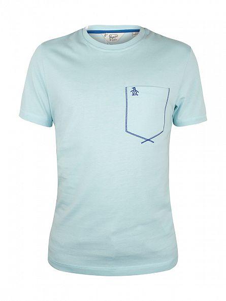 Original Penguin Crystal Blue Flatlock Pocket Logo T-Shirt