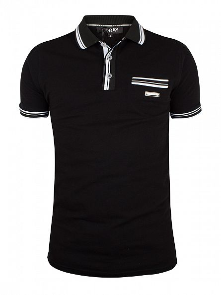 Foray Black Vera Tipped Pocket Logo Polo Shirt