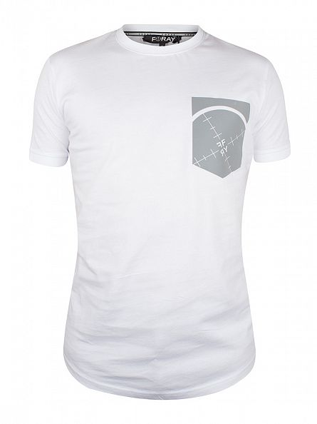 Foray White Pouch Scope Pocket Print T-Shirt