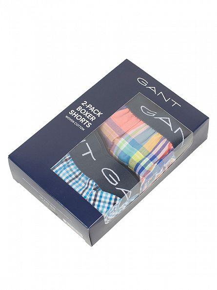 Gant Papaya 2 Pack Woven Checked Boxer Shorts
