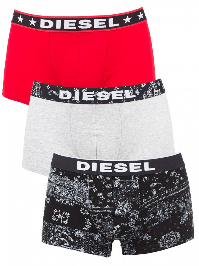 Diesel Black/Grey/Red 3 Pack Seasonal Paisley & Stars Boxer Trunks