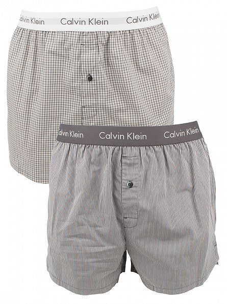 Calvin Klein Pewter/Haines Stripe 2 Pack Cali Check Slim Fit Woven Boxers