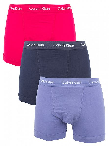 Calvin Klein Pink/Black/Blue 3 Pack Logo Waistband Cotton Stretch Trunks