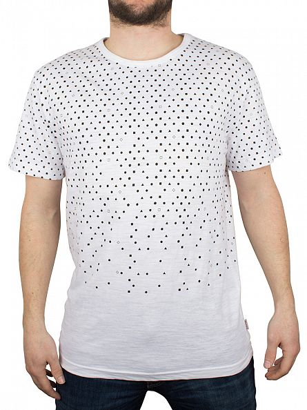 Bellfield White All Over Faded Geo Print T-Shirt