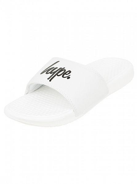 Hype White/White/Black Core Slider Logo Flip Flops