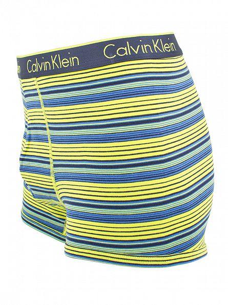 Calvin Klein Blue Shadow/Yellow CK One Marquee Striped Cotton Trunks