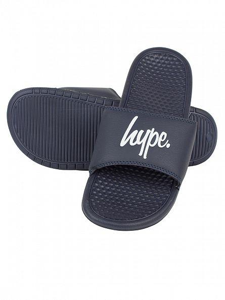Hype Navy/Navy/White Core Slider Logo Flip Flops