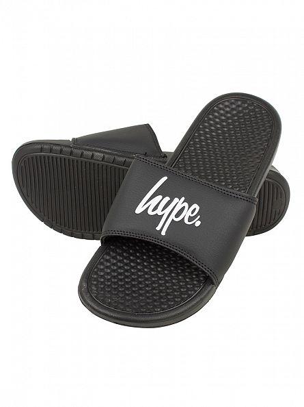 Hype Black/Black/White Core Slider Logo Flip Flops