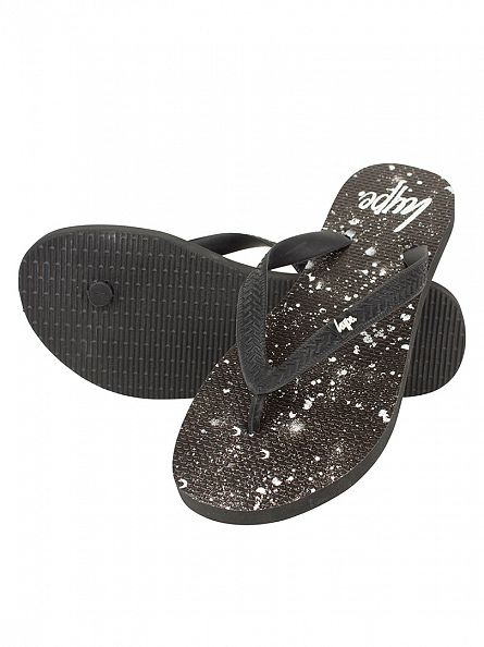 Hype Black/White Core Logo Speckle Flip Flops