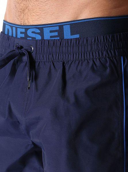 Diesel Navy Stripe Inner Logo Waistband Swim Shorts