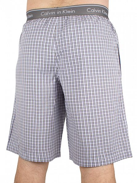 Calvin Klein Blue Shadow Ardsley Check Logo Waistband Pyjama Shorts